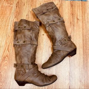 BAKERS Faux Leather Slouchy Knee High Boots